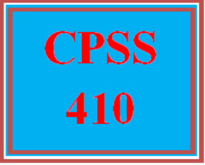 CPSS 410 Wk 1 Discussion | eBooks | Education