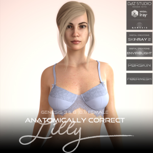 anatomically correct: lilly for genesis 3 and genesis 8 female (8.1)