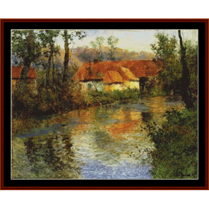 a stream in springtime – frits thaulow cross stitch pattern by cross stitch collectibles