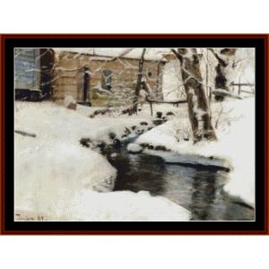 winterscene–fritsthaulowcrossstitchpatternbycrossstitchcollectibles