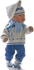 dollknittingpatterns   0023d kirsten -  skigenser, skibukse, lue, sokker skjerf, vanter og ryggsekk-(norsk)