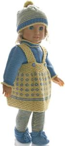 dollknittingpattern 0219d eliana - skirt, short-sleeves sweater, tights, cap and shoes-(english)