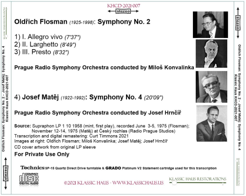 First Additional product image for - Oldrich Flosman: Symphony No. 2; Josef Matej: Symphony No. 4