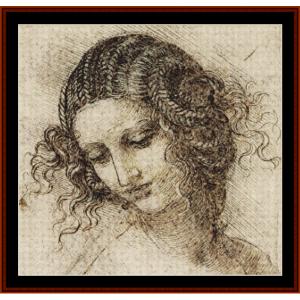head of leda cross stitch pattern by cross stitch collectibles