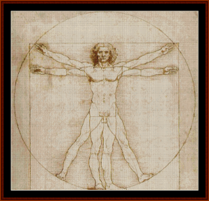 Vitruvian Man - DaVinci cross stitch pattern by Cross Stitch Collectibles | Crafting | Cross-Stitch | Other