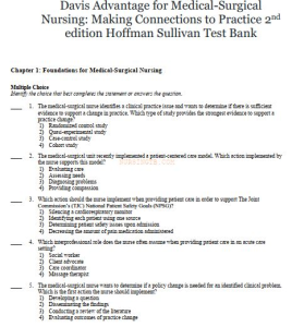 test bank. davis advantage for medical-surgical nursing: making connections to practice 2nd edition hoffman sullivan. ch 1-71. 1205 pages.