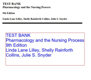 test bank pharmacology and the nursing process 9th edition linda lane lilley. chapter 1-58. 318 pages. chapters listed in description.
