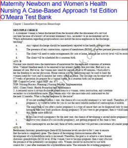 test bank. maternity newborn and women's health nursing a case-based approach 1st edition o'meara. contains chapter 1-30 in 584 pages.