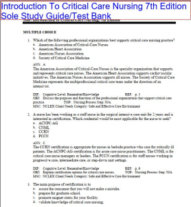 Introduction To Critical Care Nursing 7th Edition Sole Study Guide/Test Bank. All Chapters 1-21 A&A and explanation. 340 Pages | eBooks | Health