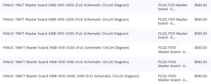 1 set of 6 fanuc 10m/t & 11m/t all master boards -0050, -0200, -0330, -0320, -0190, -0040_-0041 (full schematic circuit diagram)