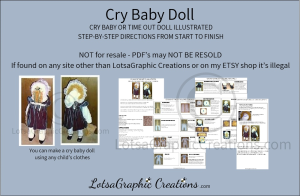cry baby or time out doll illustrated pattern directions