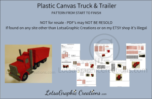 plastic canvas truck and trailer pattern