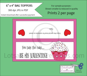 you take the cake, be my valentine bag toppers