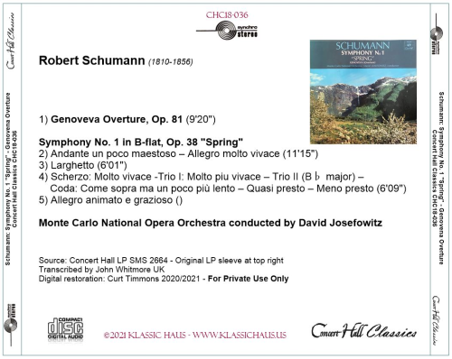"""First Additional product image for - Schumann: Genoveva Overture, Op. 81; Symphony No. 1 in B-flat, Op. 38 """"Spring"""" - Monte Carlo NOO/David Josefowitz"""