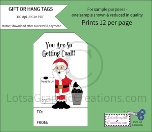 you are so getting coal gift & hang tags