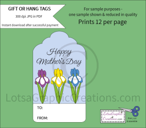 Happy Mother's Day Iris Gift & Hang Tags | Other Files | Arts and Crafts
