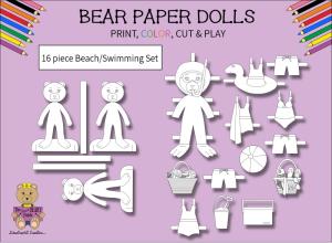 16 pc. beary patch bear paper dolls black & white beach & swimming set