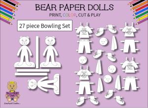 27 piece sweet beary patch bear paper dolls bowling black & white set