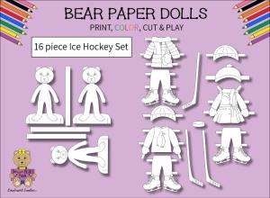 16 piece sweet beary patch bear paper dolls ice hockey black & white set