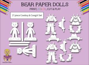 17 piece sweet beary patch bear paper dolls cowboy & cowgirl black & white set