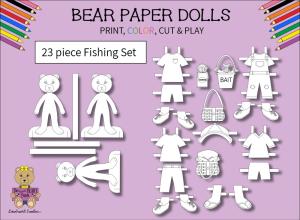 23 piece sweet beary patch bear paper dolls fishing black & white set