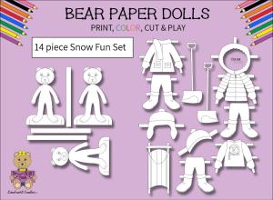 14 piece sweet beary patch bear paper dolls snow fun black & white set
