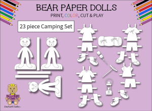 23 piece sweet beary patch bear paper dolls camping black & white set