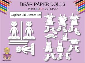 23 piece sweet beary patch bear paper dolls girl dresses black & white set