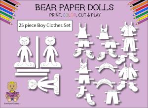25 piece sweet beary patch bear paper dolls boy clothes black & white set