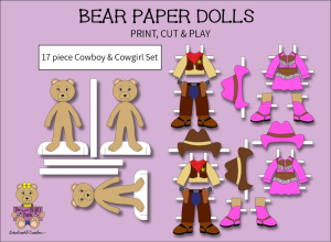 17 piece sweet beary patch bear paper dolls cowboy & cowgirl full color set