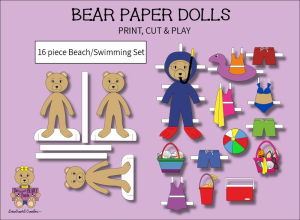 16 piece sweet beary patch bear paper dolls beach & swimming full color set