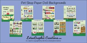 pet shop paper doll backgrounds 8 piece set