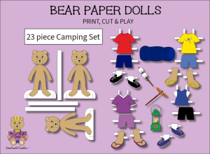 23 piece sweet beary patch bear paper dolls camping full color set
