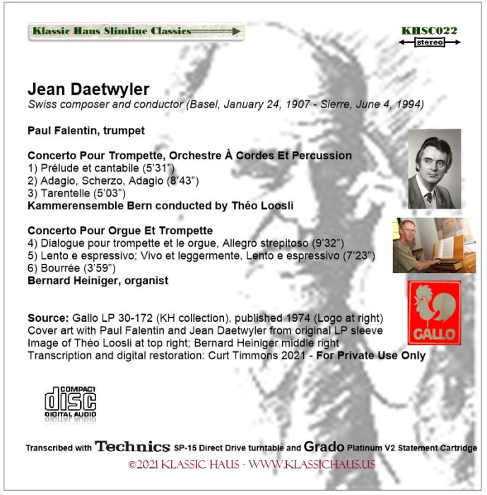 First Additional product image for - Jean Daetwyler: Concerto for Trumpet, Strings and Percussion; Concerto for Trumpet and Organ