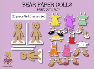 23 piece sweet beary patch bear paper dolls girl dresses full color set