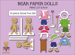 14 piece sweet beary patch bear paper dolls snow fun full color set