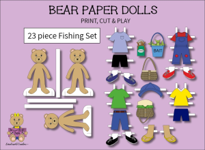 23 piece sweet beary patch bear paper dolls fishing full color set