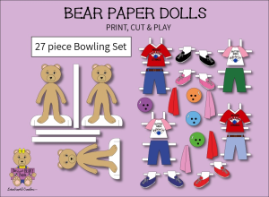 27 piece sweet beary patch bear paper dolls bowling full color set