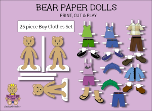25 piece sweet beary patch bear paper dolls boy clothes full color set