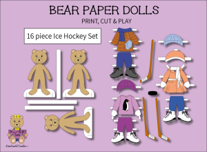 16 piece Sweet BEARY Patch Bear Paper Dolls Ice Hockey Full Color Set | Other Files | Arts and Crafts