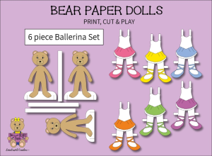 6 piece Sweet BEARY Patch Bear Paper Dolls Ballerina Full Color Set | Other Files | Arts and Crafts