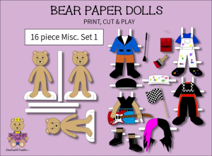 16 piece sweet beary patch bear paper dolls miscellaneous full color set 1