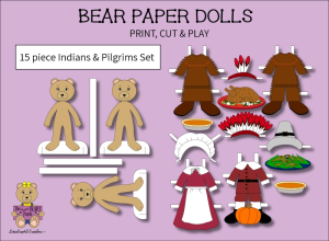 15 piece sweet beary patch bear paper dolls indians & pilgrims full color set