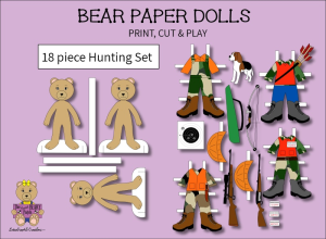 18 piece sweet beary patch bear paper dolls hunting full color set