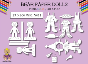 13 piece sweet beary patch bear paper dolls miscellaneous clothes black & white set 1