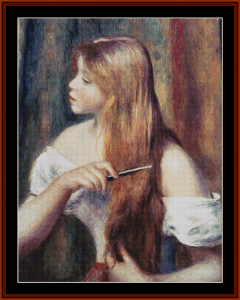 Girl Combing Her Hair I - Renoir cross stitch pattern by Kathleen George at Cross Stitch Collectibles | Crafting | Cross-Stitch | Other