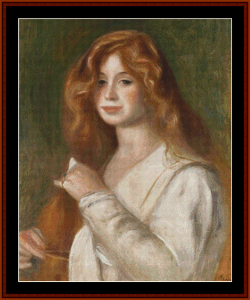girl combing her hair ii - renoir cross stitch pattern by kathleen george at cross stitch collectibles