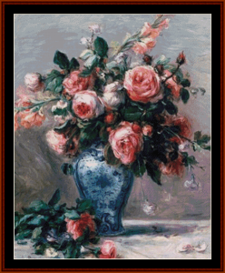 vase of roses ii - renoir cross stitch pattern by kathleen george at cross stitch collectibles