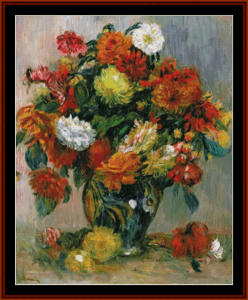 vase of flowers ii - renoir cross stitch pattern by kathleen george at cross stitch collectibles