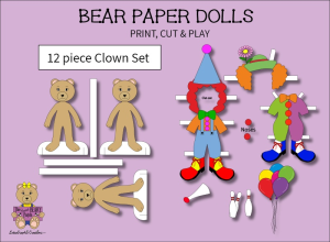 12 piece sweet beary patch bear paper dolls clowns full color set